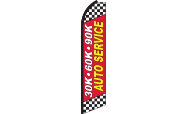30K 60K 90K Auto Service Swooper Feather Flag
