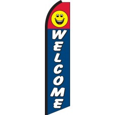 Welcome Smiley Face Swooper Feather Flag