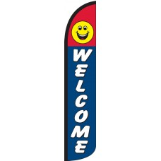 Welcome Smiley Face Wind-Free Feather Flag