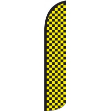 Checkered Black/Yellow Wind-Free Feather Flag