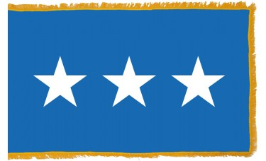 3 Star Air Force Lt. General Indoor Flag