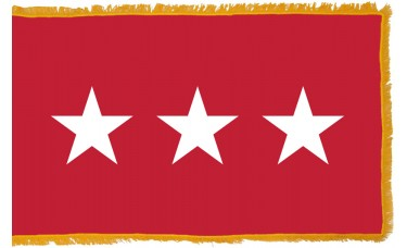 3 Star Army Lt. General Indoor Flag
