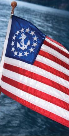 "Yacht Ensign Nautical Boat Flag 16/"" x 24/"" Sewn Anchor Sewn Stripes USA Made"